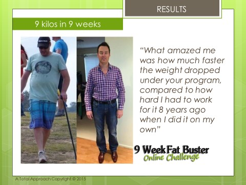 Image of Brad Before & After the 9 Week Fat Buster Online Challenge, with testimonial quote