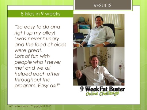 Image of Ralph Before & After the 9 Week Fat Buster Online Challenge, with testimonial quote